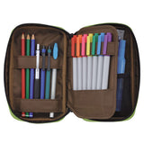 Lihit Lab Teffa Pen Case - Book Style - Brown - Pencil Case - bunbougu.com.au