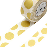Mt Masking Tape Mt for Pack - Dot Gold - 25 mm x 15 m - Washi Tapes - bunbougu.com.au