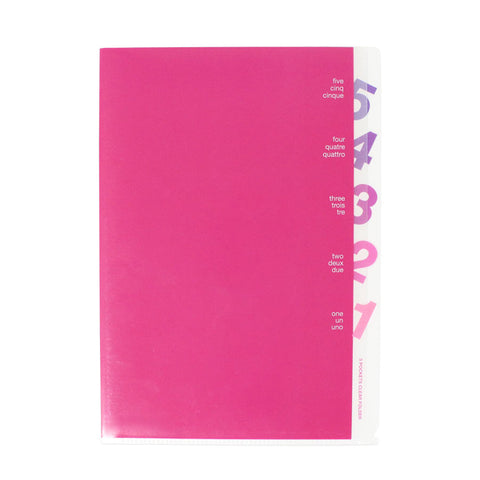 Midori 5 Pocket Clear Holder - Die Cut Numbers - Pink - A4