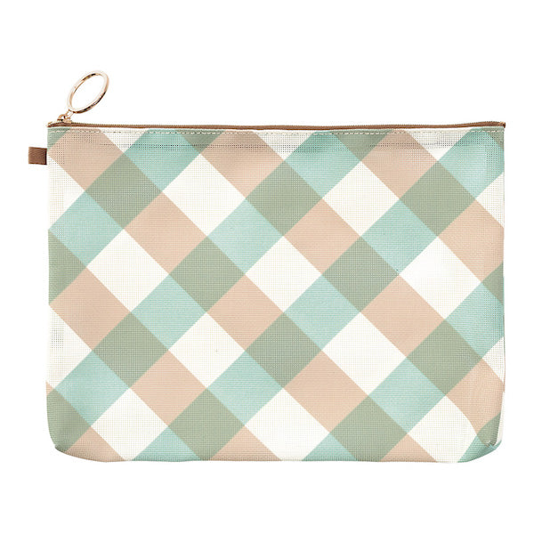 Midori Mesh Graphics Pouch - Plaid Light Blue - A5