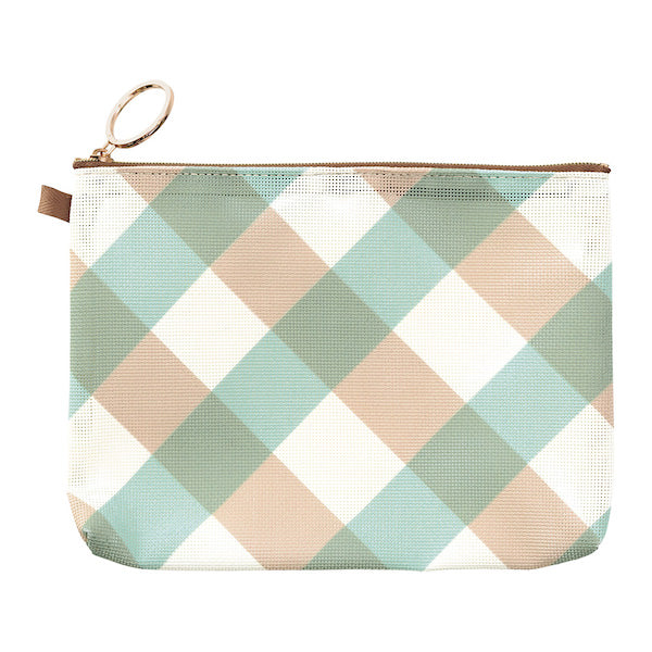 Midori Mesh Graphics A6 Pouch - Plaid Light Blue