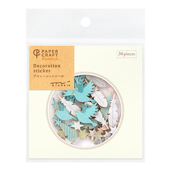 Midori Paper Craft Museum Decoration Sticker - Feather