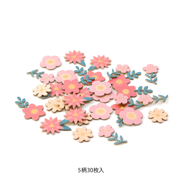 Midori Paper Craft Museum Decoration Sticker - Red Flower