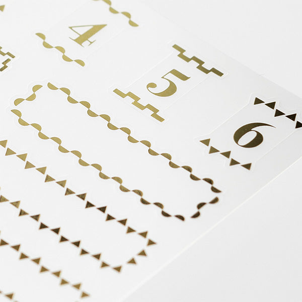 Midori Seal Collection Planner Stickers - Title - Gold