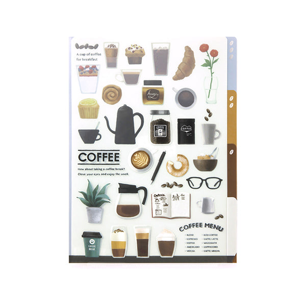 Midori 3 Pocket Clear Holder - Coffee Pattern - A5