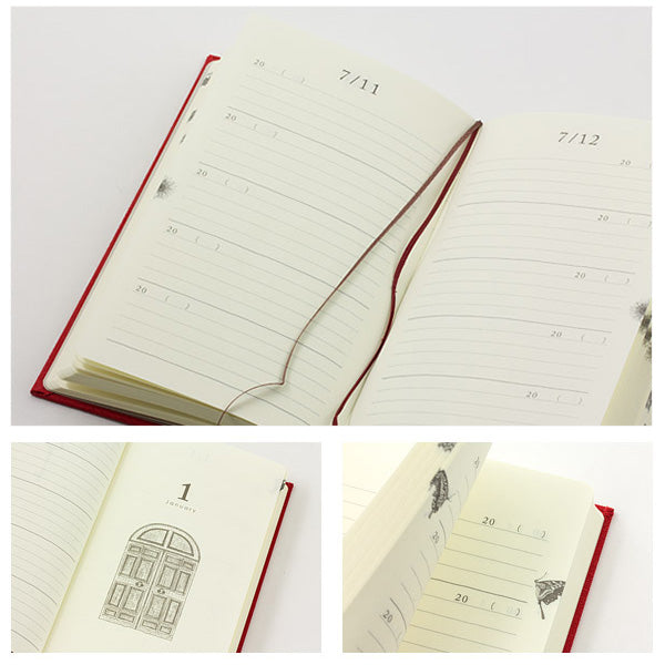 Midori 3 Years Diary - Door Design - Brown