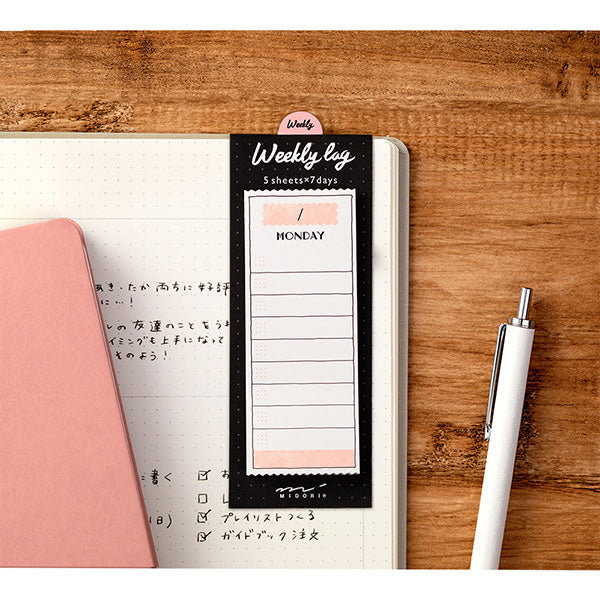 Midori Journal Sticky Notes - Weekly Log - Colourful