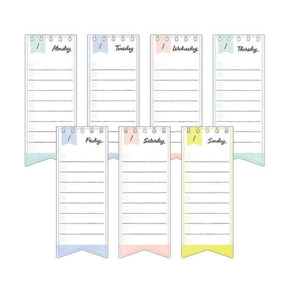 Midori Journal Sticky Notes - Weekly Log - Ribbon