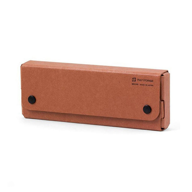 Midori Pulp Pasco Pen Case - Reddish Brown - Pencil Case - bunbougu.com.au