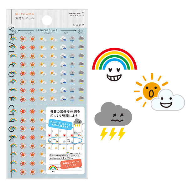 Midori Removable Planner Stickers - Mood Seal - Weather