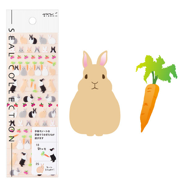 Midori Seal Collection Planner Stickers - Rabbit