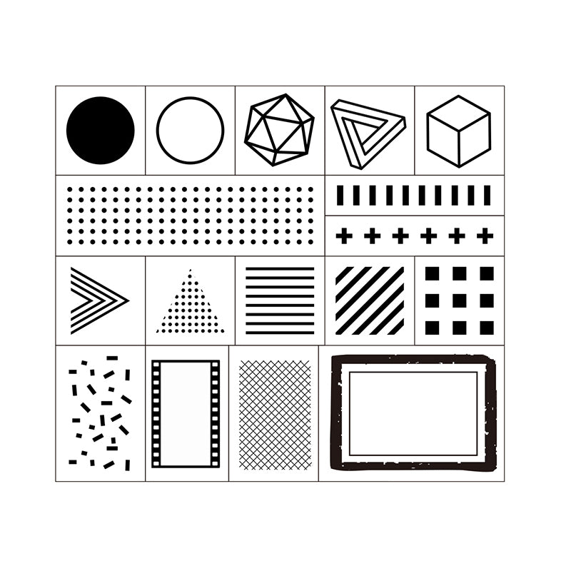 Moodtape Wooden Stamp Set - Geometry