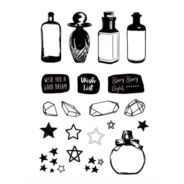 Moodtape Zakka Transparent Stamp - Wish Bottles - Stamp - bunbougu.com.au