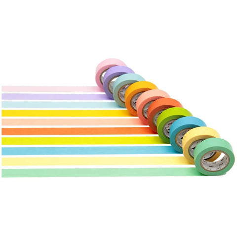 Mt Masking Tape Gift Box - Bright Colour - 10 Colour - 15 mm x 10 m - Washi Tapes - bunbougu.com.au