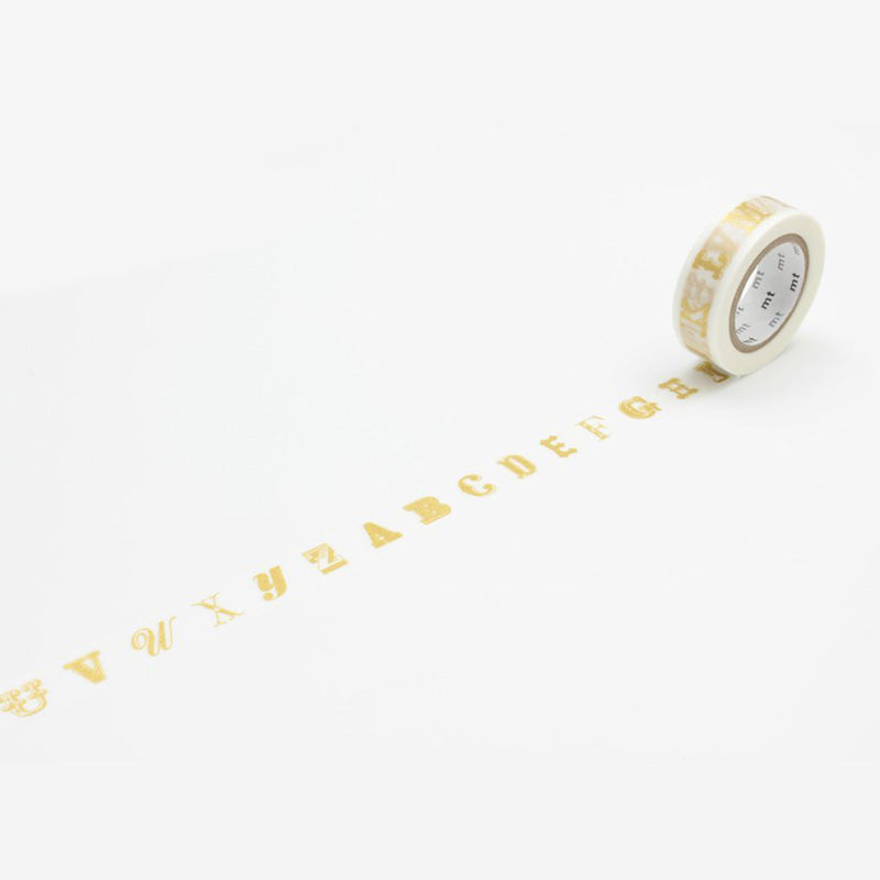 Mt Masking Tape Ex Series - Golden Alphabets - 15 mm x 10 m