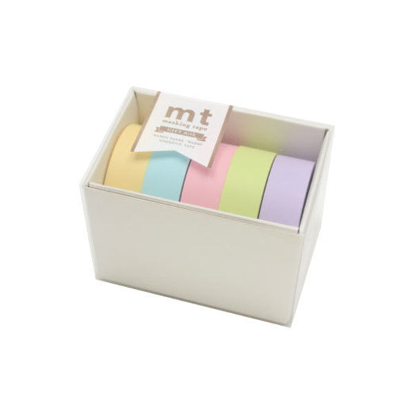 Mt Masking Tape Gift Box - 5 Pastel Colours - 15 mm x 10 m