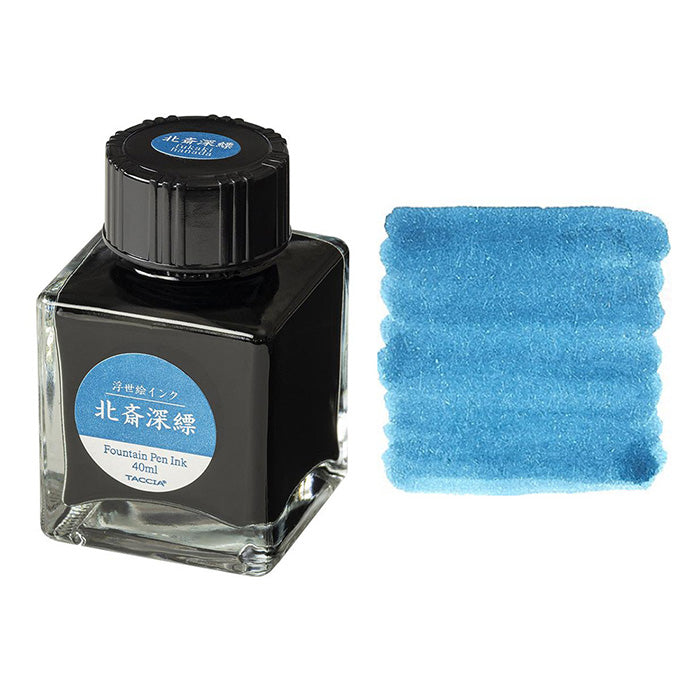 Nakabayashi Taccia Ukiyo-e Bottled Ink - Hokusai Fukakihanada (Light Blue) - 40 ml