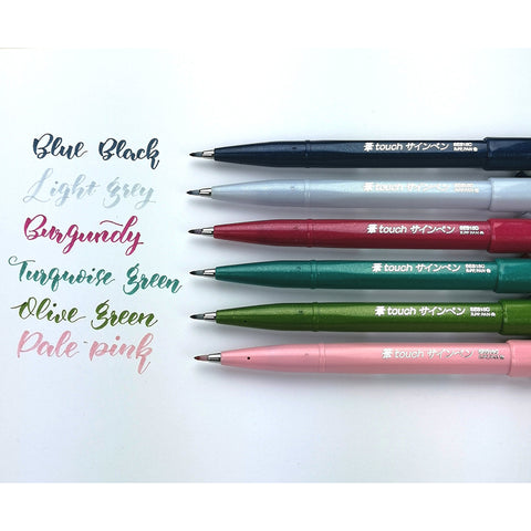 Pentel Fude Touch Brush Sign Pen - 18 Colour Set (Includes 6 New Colours) - Brush Pens - bunbougu.com.au