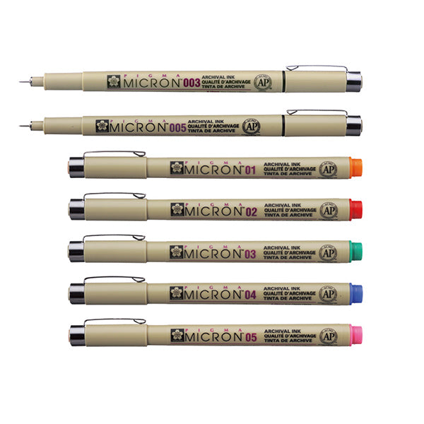 Sakura Pigma Micron Fineliner Pen - Assorted Colors - Size 05 - 0.45 mm