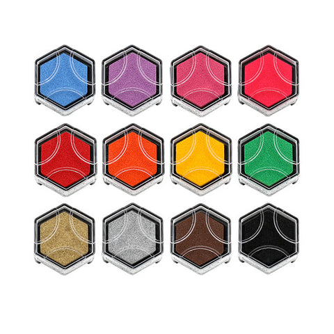 Shachihata Hexagon Beehive Design Stamp Pad - Limited Edition - 12 Color Set - Stamp Pad - bunbougu.com.au