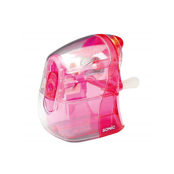 Sonic Half Skeleton Clear Hand Crank Pencil Sharpener - Pink