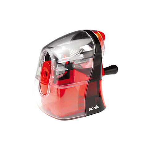 Sonic Half Skeleton Clear Hand Crank Pencil Sharpener - Red