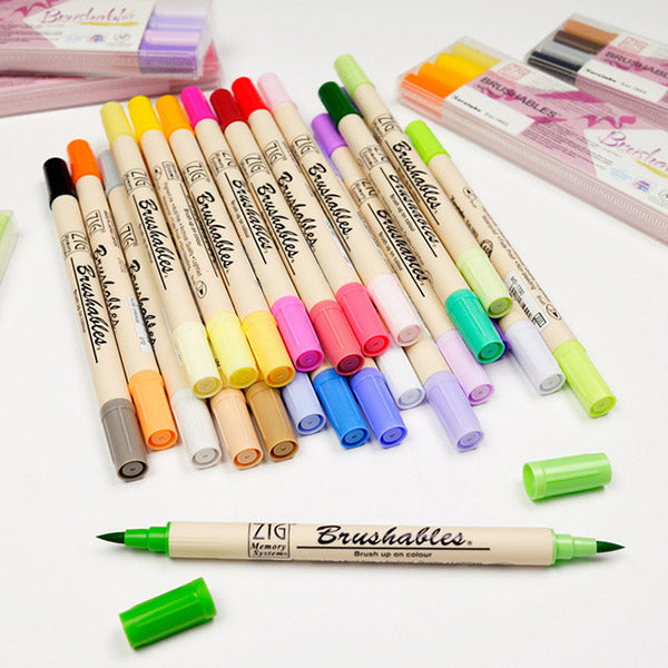 Kuretake Zig Brushables Brush Marker Pen - 24 Color Bundle