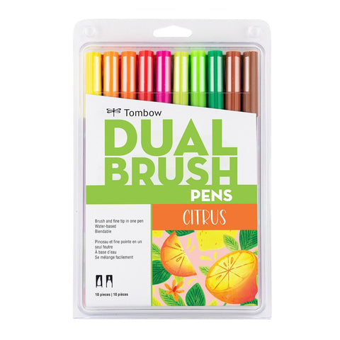 Tombow ABT Dual Brush Pen - 10 Colour Set - Citrus