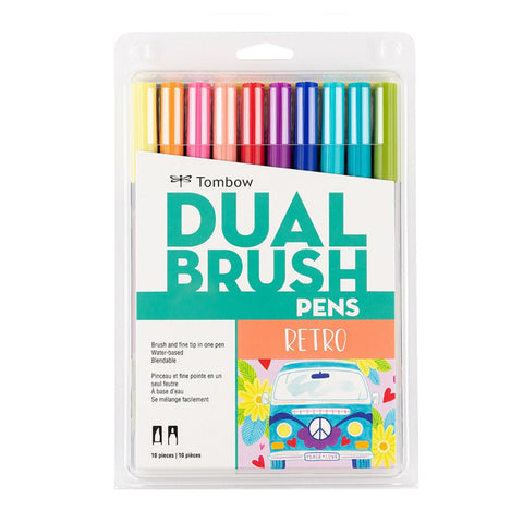 Tombow ABT Dual Brush Pen - 10 Colour Set - Retro