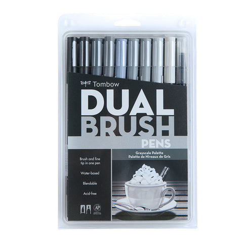 Tombow Dual Brush Pen - 10 Color Set - Grayscale