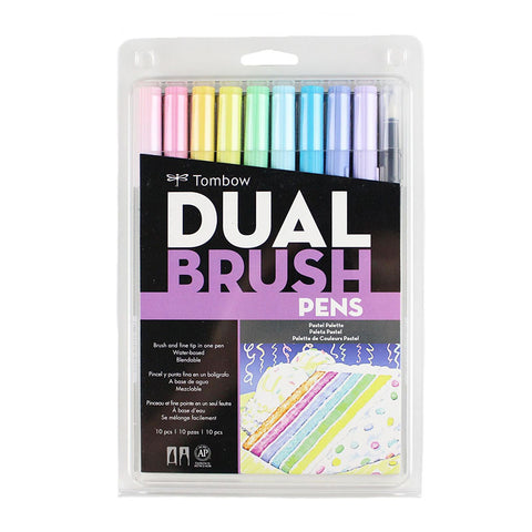 Tombow Dual Brush Pen - 10 Color Set - Pastel