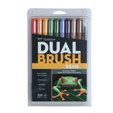 Tombow Dual Brush Pen - 10 Color Set - Secondary