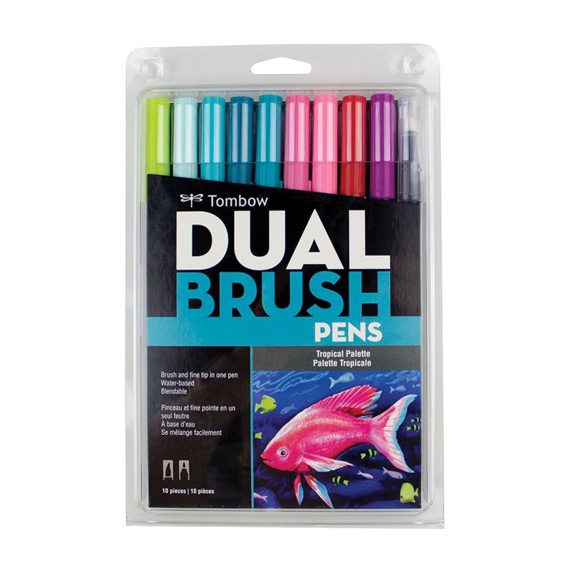 Tombow Dual Brush Pen - 10 Color Set - Tropical