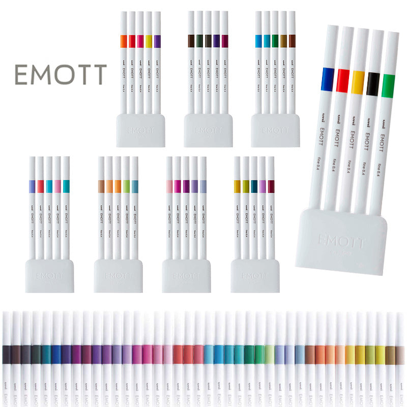 Uni EMOTT Sign Pen - 5 Colour Set - No.1 Vivid - 0.4 mm