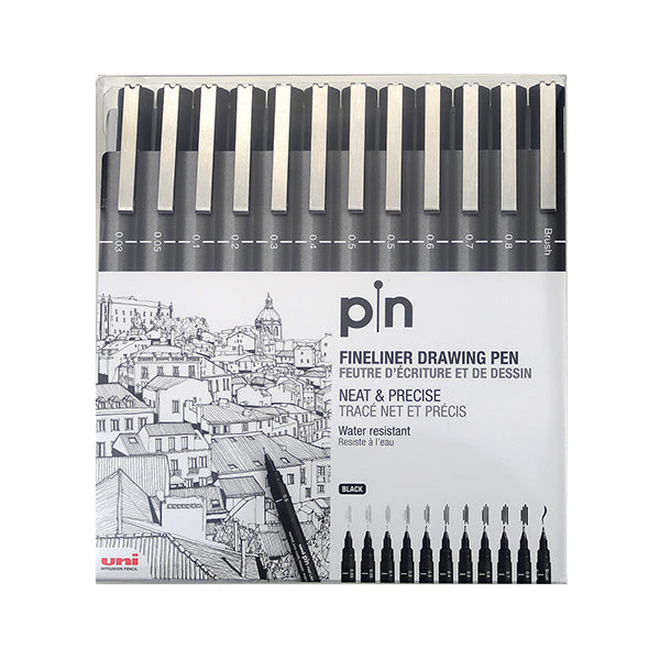 Uni Pin Pigment Ink Fineliner Pen Set - Black Ink - 0.03 to 0.8 + Brush Pen