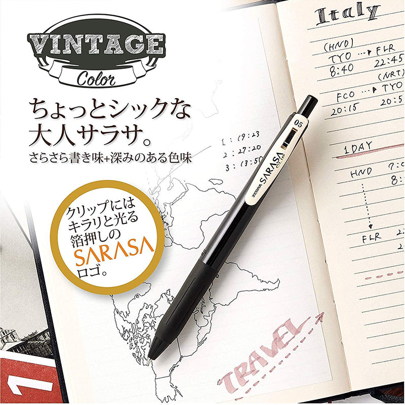 Zebra Sarasa Push Clip Gel Pen -  5 Vintage Color Set 2