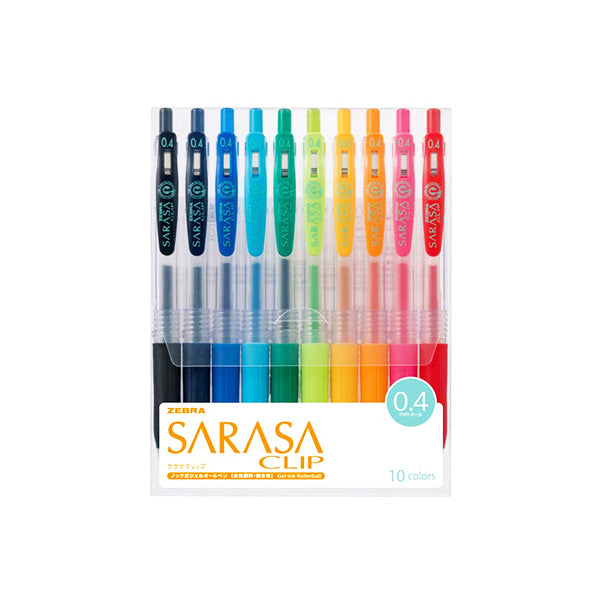 Zebra Sarasa Push Clip Gel Pen - 10 Color Set - 0.4 mm