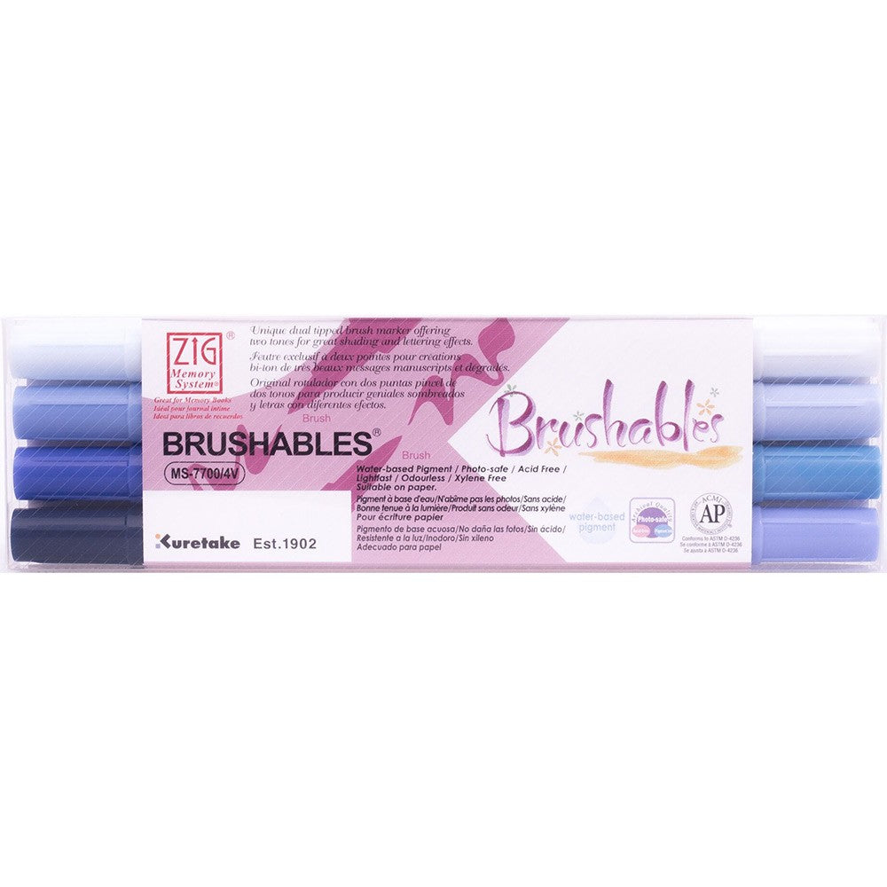 Kuretake Zig Brushables Brush Marker Pen - 4 Color Set - Blue Set - Brush Pens - bunbougu.com.au