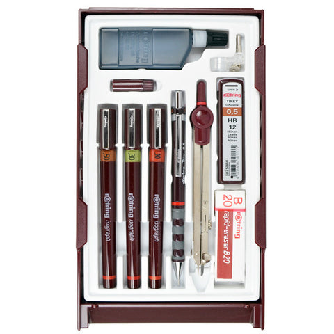 Rotring Isograph Technical Drawing Pen Master Set - Mechanical Pencil - bunbougu.com.au