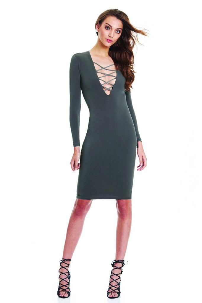Melanie Lace Up Dress | Shop Elettra |