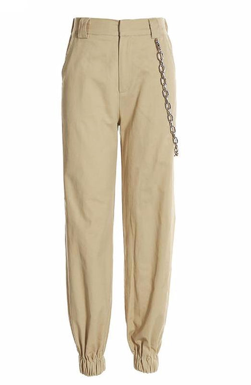 Khaki Cargo Trouser Pants with Chain | Shop Elettra |