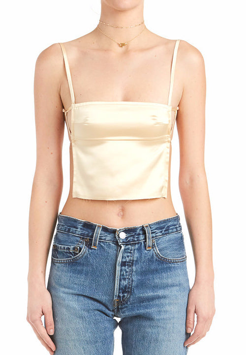 Satin Backless Crop Top | Shop Elettra |
