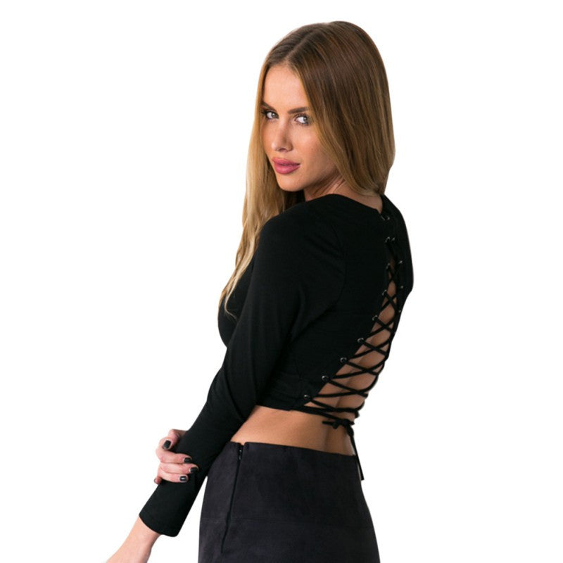 Tiana Lace Up Open Back Top | Shop Elettra |