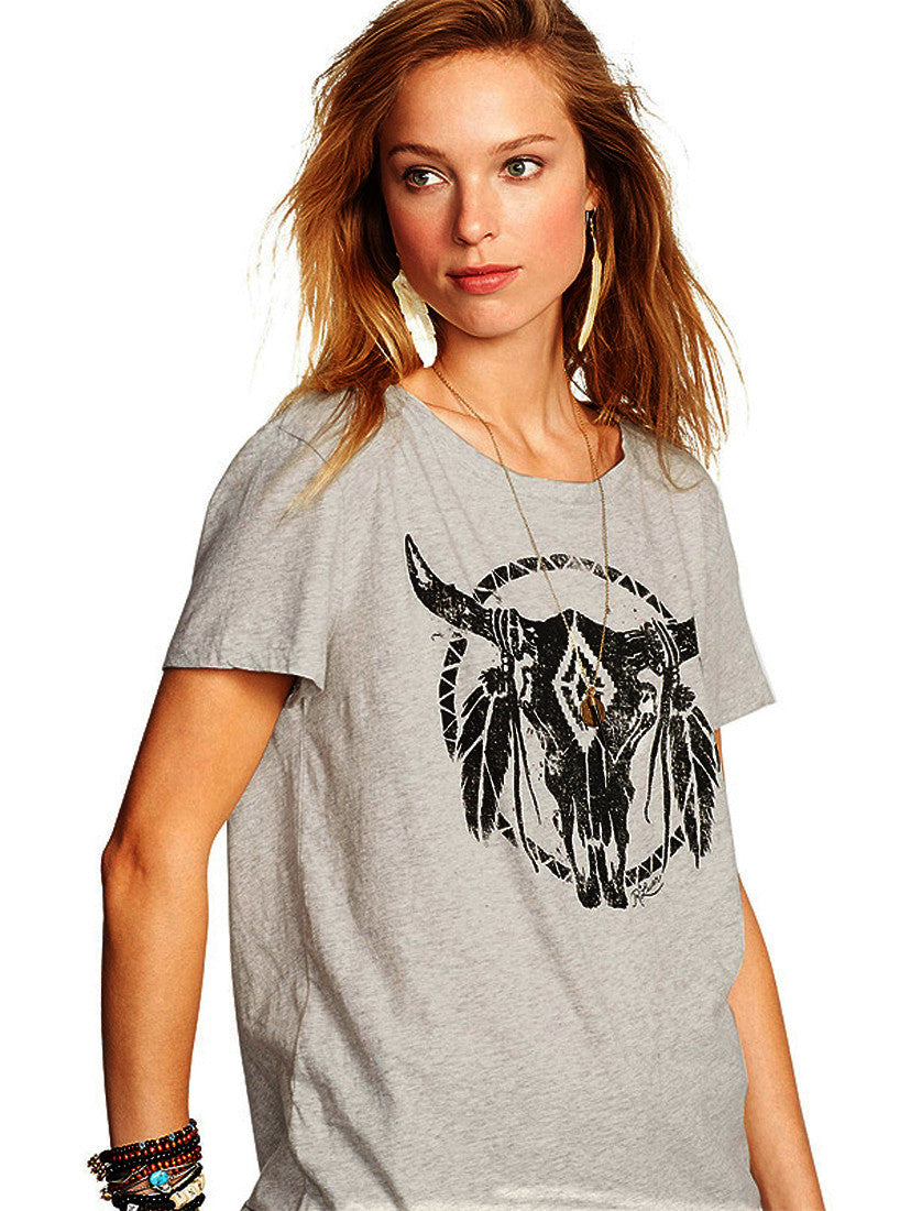 Selma Bull Feather T-Shirt Top | Shop Elettra |