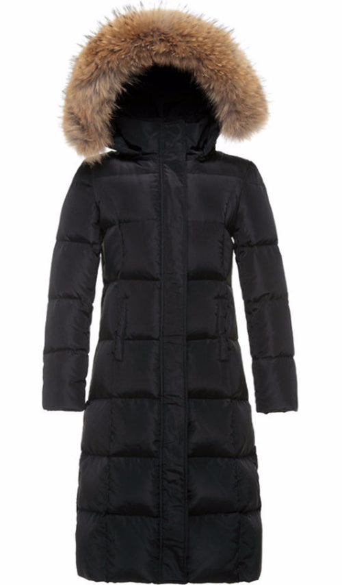 Down Parka Jacket with Genuine Rabbit Fur Trim Hood | Shop Elettra |