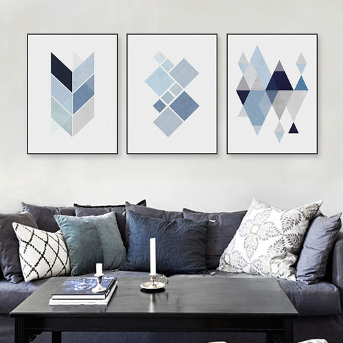 Blue Geometric Shape Design Canvas Print | Shop Elettra |