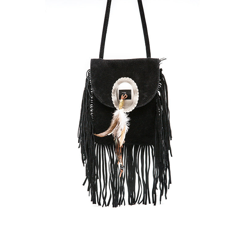 Suede Feather Fringe Bag | Shop Elettra |