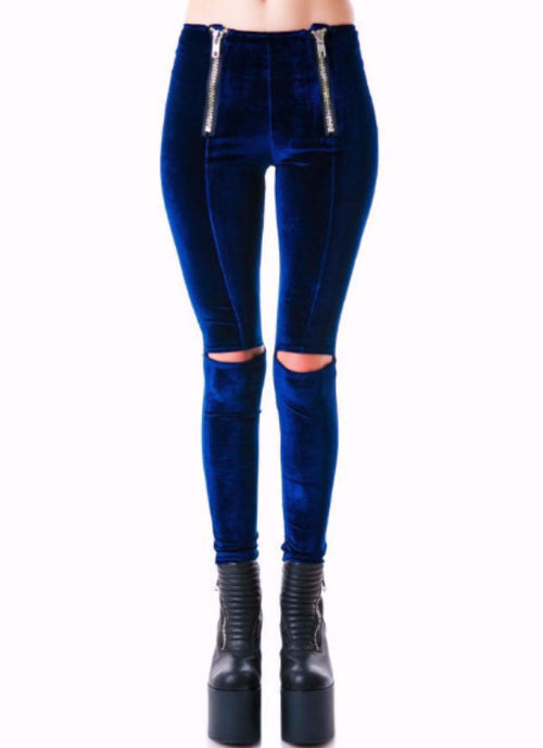 Chase Velvet High Waisted Zip Up Leggings | Shop Elettra |