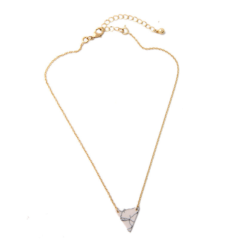 Marble Triangle and Gold Pendant Necklace Duo | Shop Elettra |