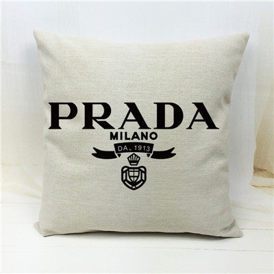 Prada Logo Throw Pillow Cover | Shop Elettra |